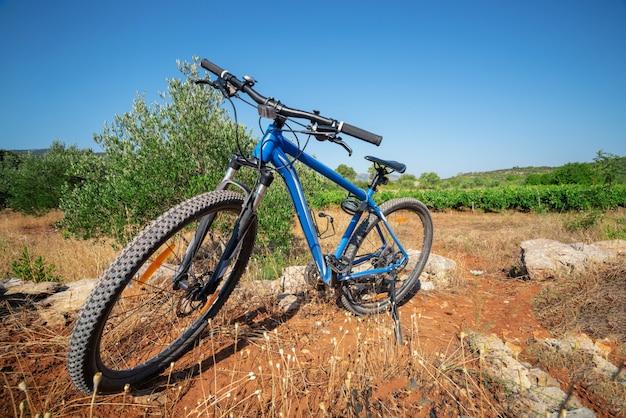 Mountainbike-radfahren auf naturlandschaft.
