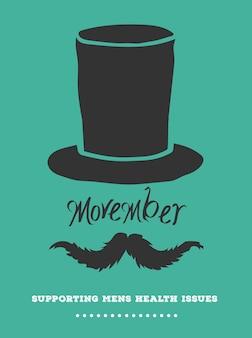 Movember-anzeigenvektor mit text und grafik