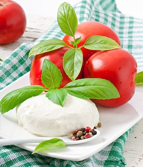 Mozzarella, tomaten und frische basilikumblätter