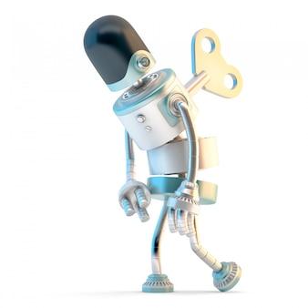 Müder roboter mit dem aufziehschlüssel, der in seinen zurück haftet