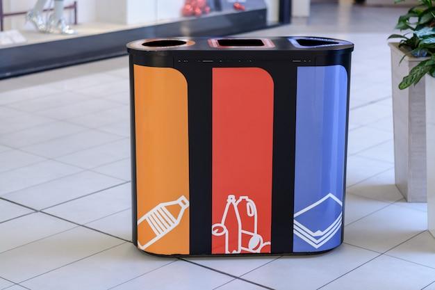 Mülleimer-getrennte sammlung für recycling-naturschutz.
