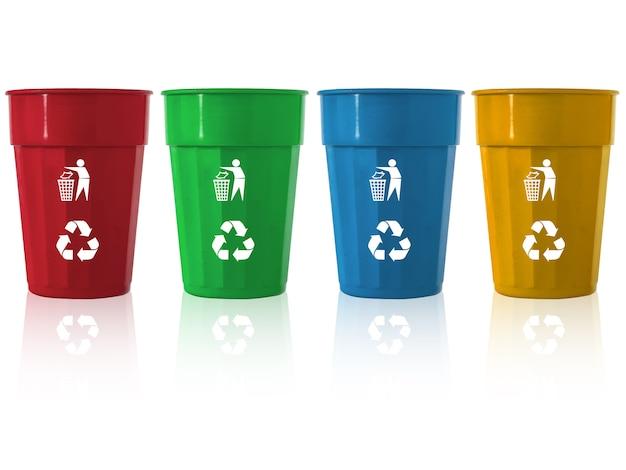 Mülleimer-mischfarbe mit recycling-logo