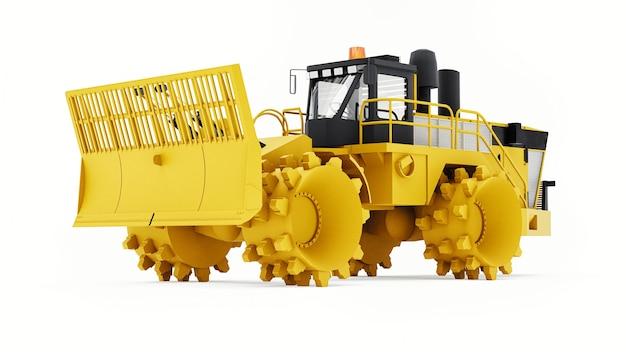 Müllpresse für deponien. ein spezieller typ eines industriellen bulldozers für die arbeit auf mülldeponien. 3d-rendering.