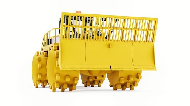 Müllverdichtermaschine für deponien. eine spezielle art von industriellem bulldozer für die arbeit auf deponien. 3d-rendering.