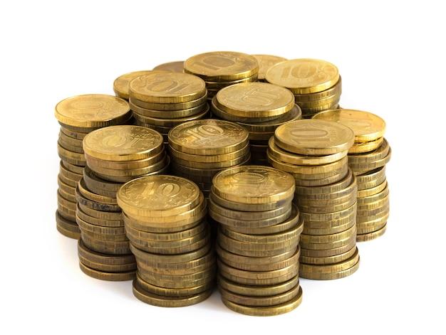 Münzen auf dem tisch Premium Fotos