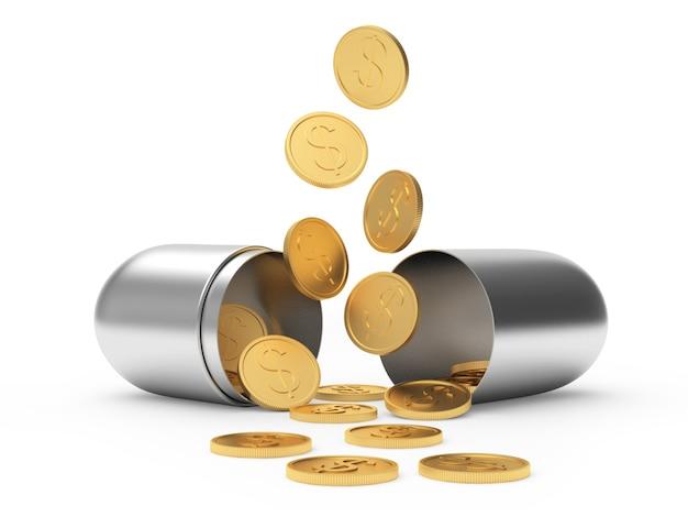 Münzen fallen aus einer offenen medizinischen silberkapsel