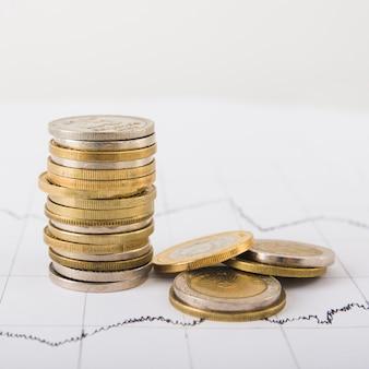 Münzenstapel auf tabelle