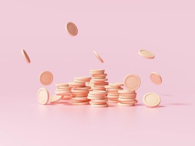 Münzstapel mit fallender münze auf rosafarbenem hintergrund, unternehmensinvestitionsgewinn, geldsparkonzept. 3d-darstellung.