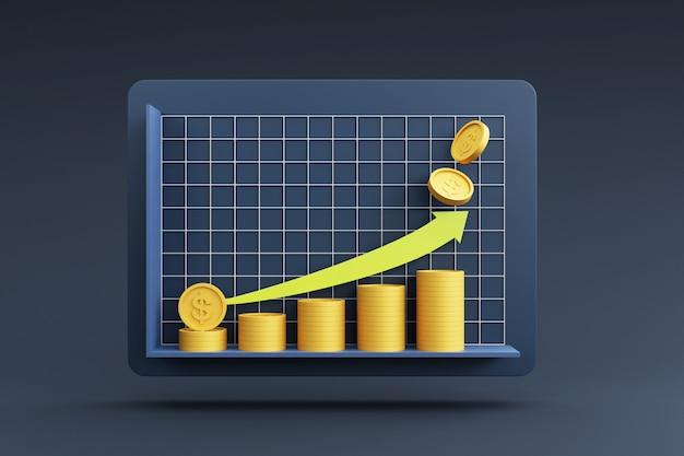 Münzstapel mit wachstumsgrafik für finanz- und anlagekonzept