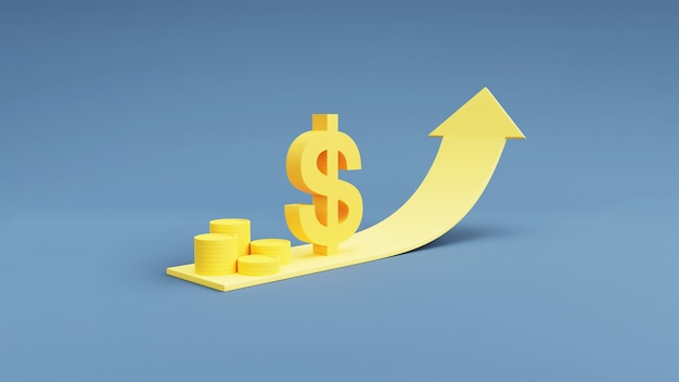 Münzstapel und dollar-währungssymbol mit aufwärtspfeil