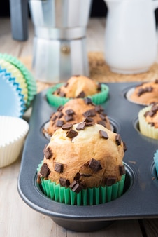 Muffins in einer backform