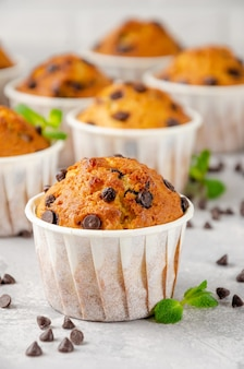 Muffins mit schokoladenstückchen auf einem grauen betonhintergrund. speicherplatz kopieren.