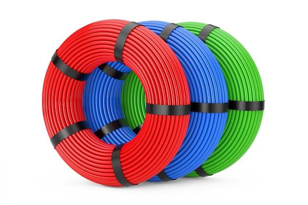 Multicolor knäuel netzwerk-kunststoff-kabel auf weißem hintergrund. 3d-rendering