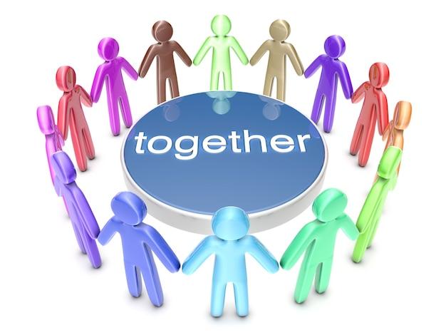 Multiethnische gruppe. eine gruppe von ikonenmenschen, die in einem kreis stehen. 3d gerenderte illustration.