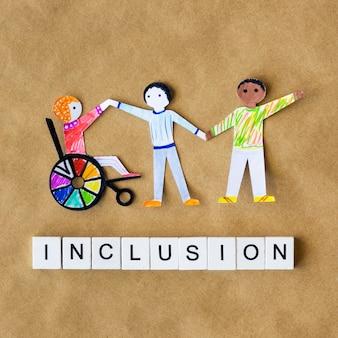 Multiethnische und unterschiedliche menschengemeinschaft in ausgeschnittenem papier