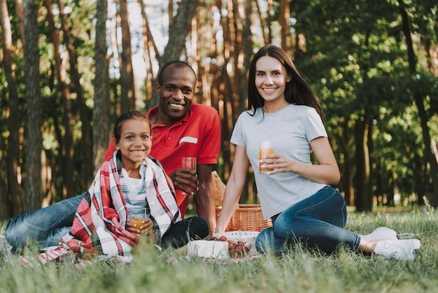 Multinationaler familiengetränksaft auf einem picknick.