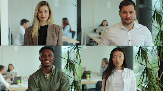 Multiscreen auf glückliche männliche und weibliche mitarbeiter bei der arbeit vorderansicht junger multiethnischer fachkräfte