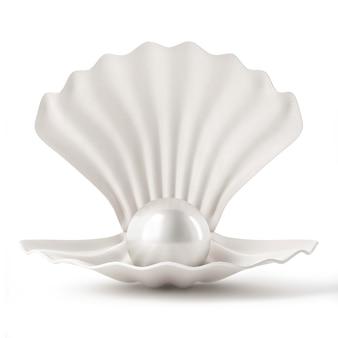 Muschel mit perle auf weißem hintergrund Premium Fotos