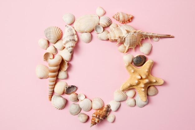 Muscheln und starfish auf einem hellrosa hintergrund