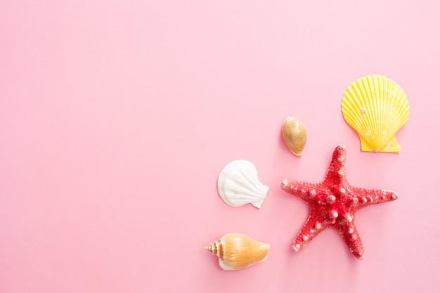 Muscheln und sternsymbol von sommerferien am strand auf einem rosa hintergrund.