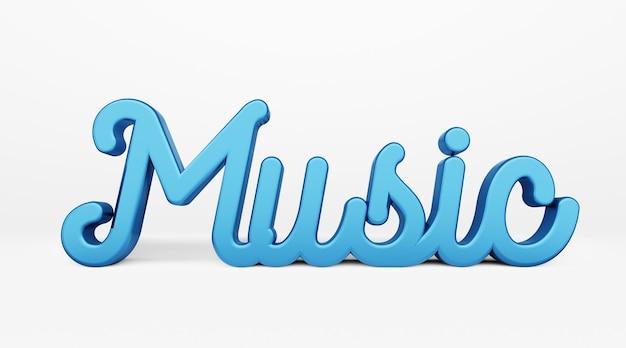 Musik. ein kalligraphischer satz. 3d-logo im stil der handkalligraphie 3d-rendering.
