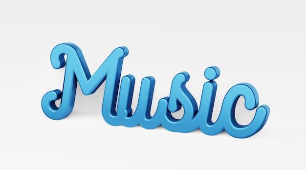 Musik. ein kalligraphischer satz. 3d-logo im stil der handkalligraphie auf weißem, einheitlichem hintergrund mit schatten. 3d-rendering.
