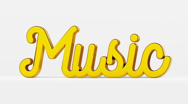 Musik. ein kalligraphischer satz. gold 3d-logo im stil der handkalligraphie auf einem weißen einheitlichen hintergrund mit schatten