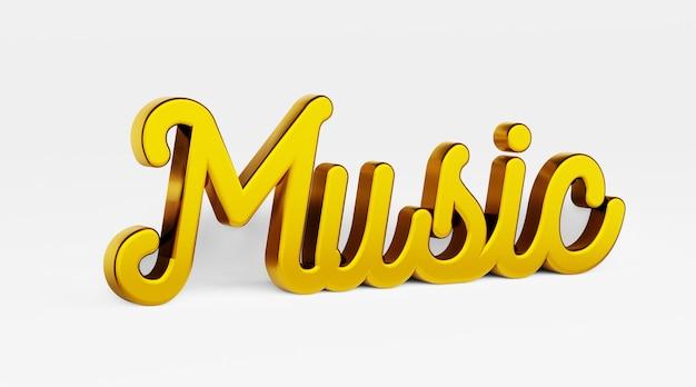 Musik eine kalligraphische phrase gold 3d-logo