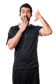 Musik kopfhörer schlank bart körper