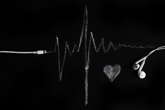 Musik, puls, herz. schwarzer hintergrund, minimalismus.