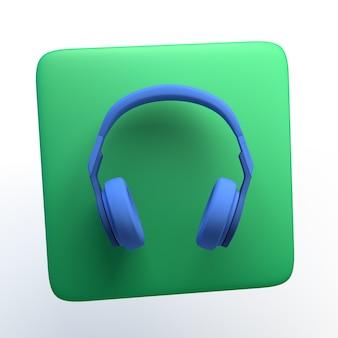 Musikikone mit kopfhörern auf lokalisiertem weißem hintergrund. 3d-darstellung. app.