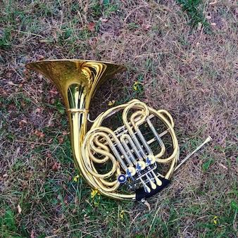 Musikinstrument waldhorn liegt im gras