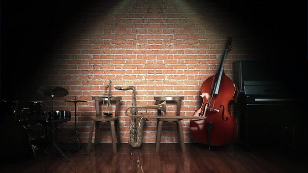 Musikinstrumente 3d-rendering
