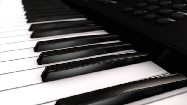 Musikinstrumentensynthesizer seine tasten nahaufnahme