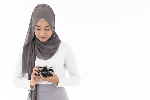 Muslimisches mädchen kamera