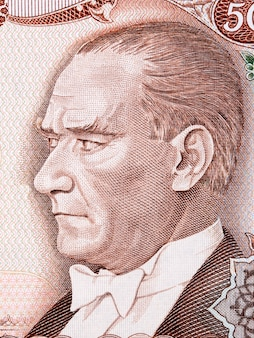 Mustafa kemal atatürk ein porträt aus türkischem geld