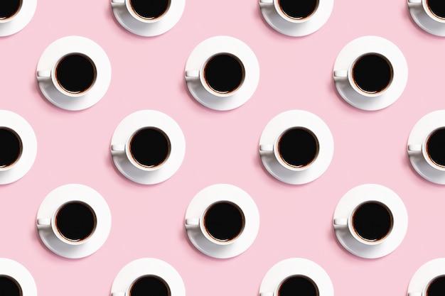 Muster aus tassen kaffee in form eines banners.