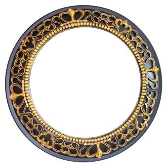 Muster in einem kreis mit goldelementen isoliert