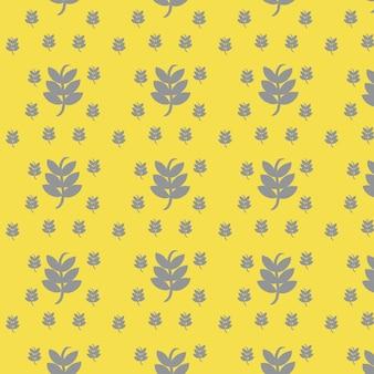 Muster mit blättern im gelbgrauen farbtrend 2021 für kunsttextilien-textiltapeten