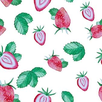 Muster mit erdbeeren und grünen blättern