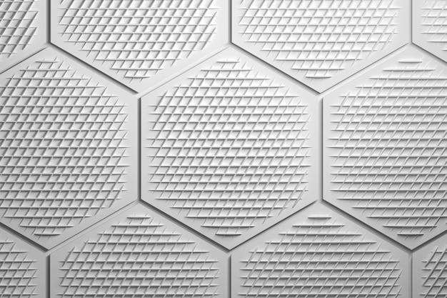 Muster mit großen sechsecken und ziernetz in weißgrau.
