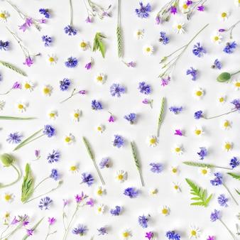 Muster mit kamillenblüten, kornblumen und grünen zweigen
