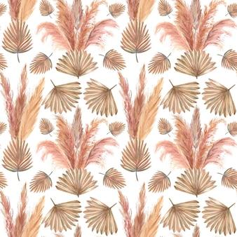 Muster mit tropischen blättern und pampasgras auf weißem, isoliertem hintergrund. aquarellillustration.