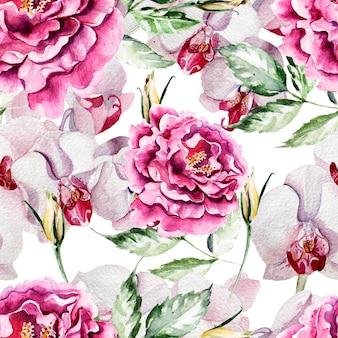 Muster mit zarten pfingstrosenblumen und orchideen auf einem weißen hintergrund.