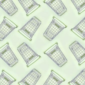 Muster vieler kleinen einkaufswagen