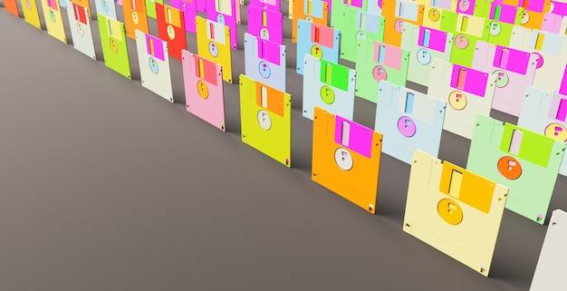 Muster vieler pastellfarbener disketten mit platz für text. 3d-rendering