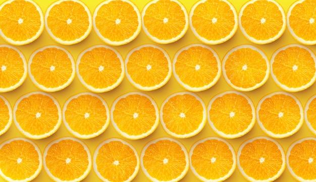 Muster von neuen orangenscheiben auf farbigem hintergrund