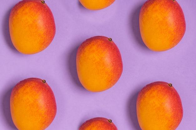 Muster von reifen tropischen mangos purpurrot