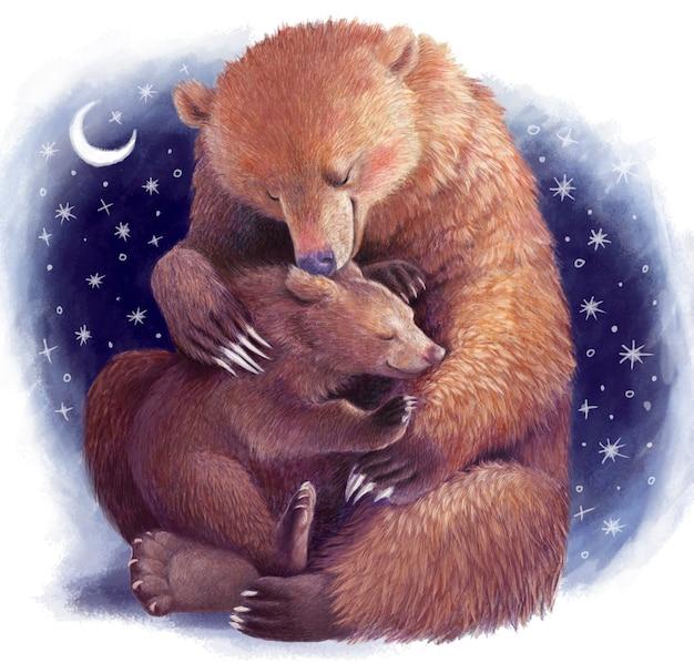 Mutter bär umarmt das bärenjunges. realistische farbige handzeichnung. illustration mit sternen über mutterschaft. muttertag.