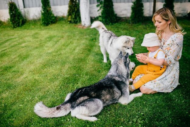 Mutter und sohn spielen mit zwei hunden im garten